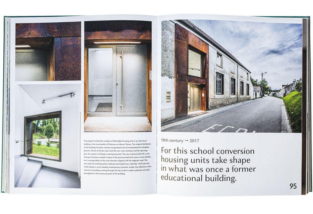 Chris van Uffelen's 'When a Factory Becomes a Home' pages 94-95 - ACBS Architectes project of a school conversion into housing unit