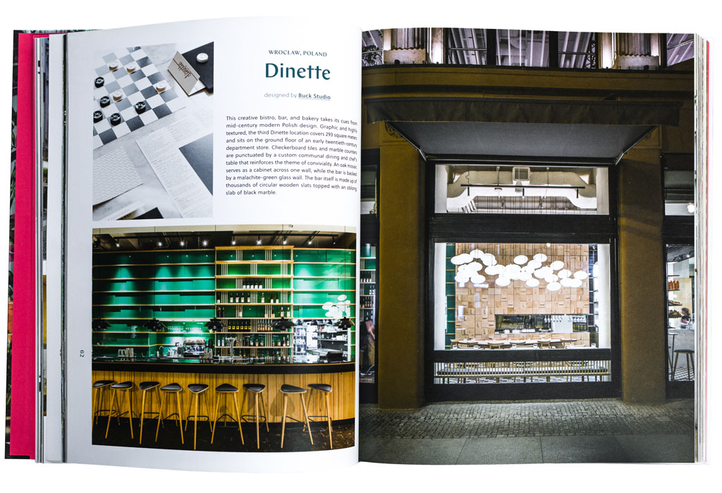"""""""Appetizer - New Interiors for Restaurants and Cafes"""" pages 62-63, photos on the left page by PION photo on the right page by me"""
