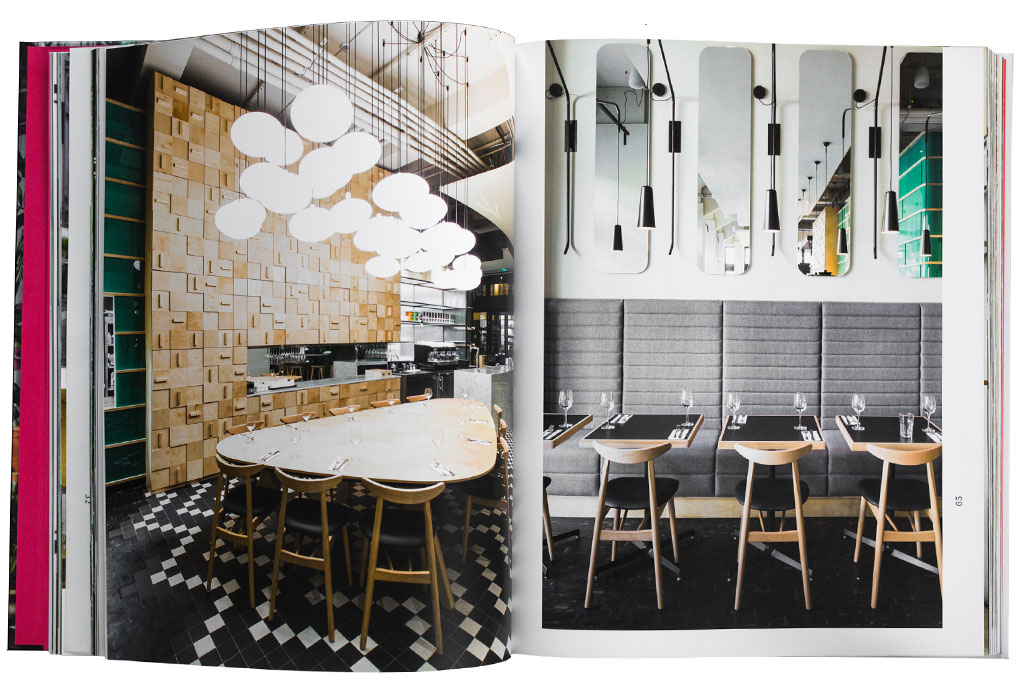 """""""Appetizer - New Interiors for Restaurants and Cafes"""" pages 64-65, photo on the left page by PION photo on the right page by me"""