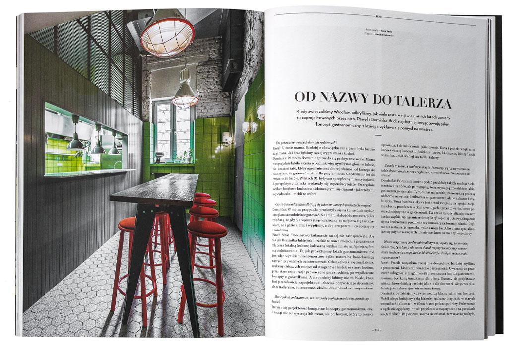 Usta Magazine page with a photo of Soczewka by Buck.Studio